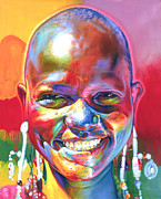 African Art Portrait Paintings - 100 Mile Smile by Stephen Bennett