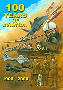 Michael Swanson Mixed Media Posters - 100 Years of Aviation Poster by Michael Swanson