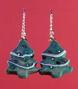 Polymer Jewelry - 1057 Christmas Tree by Dianne Brooks