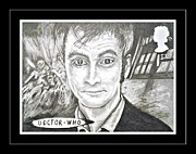 4th Drawings Prints - 10th Doctor  David Tennant Print by Jenny Campbell Brewer