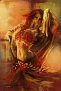 Dancer Art Framed Prints - Belly Dancer  Framed Print by Corporate Art Task Force