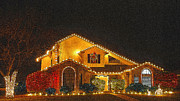 Christmas Cards Pyrography Prints - Christmas Lights C.C. Tx.. Print by James E Hoehne