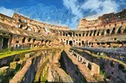 Central Paintings - Colosseum in Rome by George Atsametakis