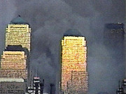 Twin Towers Trade Center Digital Art Metal Prints - Late evening that day Metal Print by James Kosior