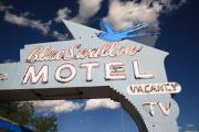 Frank Romeo Metal Prints - Route 66 - Blue Swallow Motel Metal Print by Frank Romeo