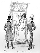 Romance Drawings Framed Prints - Scene from Pride and Prejudice by Jane Austen Framed Print by Hugh Thomson
