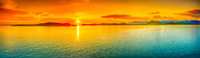 Tropical Sunset Framed Prints - Sunset panorama Framed Print by MotHaiBaPhoto Prints