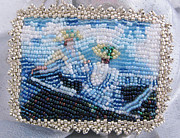 Boat Jewelry - 1127 Blue Row Boat after Monet by Dianne Brooks