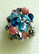 Teal Jewelry - 1168 Bling Bling Cluster Ring by Dianne Brooks