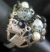 Silver-filled Art - 1173 Bling Bling Cluster Ring by Dianne Brooks