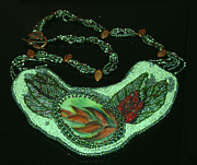 Red Leaves Jewelry - 1178 Heliconia Collar by Dianne Brooks