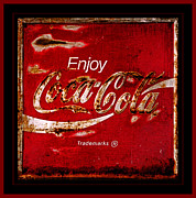 Weathered Coca Cola Sign Framed Prints - Coca Cola Classic Vintage Rusty Sign Framed Print by John Stephens