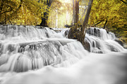 Fresh Green Posters - Erawan Waterfall Poster by Anek Suwannaphoom