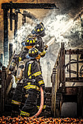 Fire Framed Prints - Firefighters Framed Print by Everet Regal