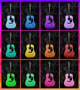 Guitar Mixed Media Posters - 12 Guitars For Elvis - Rainbow Trim - Music - Abstract Poster by Andee Photography
