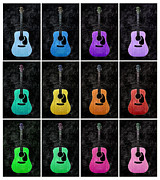 Magenta Mixed Media Posters - 12 Guitars For Elvis - White Trim - Music - Abstract Poster by Andee Photography