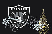 Sports Greeting Cards Framed Prints - Oakland Raiders Framed Print by Joe Hamilton