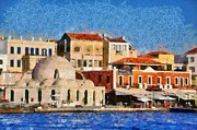 Islands Paintings - Painting of the old port of Chania by George Atsametakis