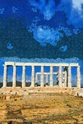 Temple Paintings - Poseidon temple by George Atsametakis