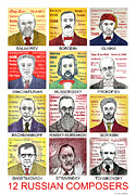 Russian Drawings Acrylic Prints - 12 Russian Composers Acrylic Print by Paul Helm