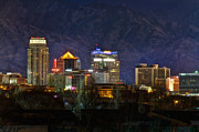Snowy Night Art - Salt Lake City Utah by Utah Images