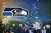 Christmas Greeting Cards Photo Framed Prints - Seattle Seahawks Framed Print by Joe Hamilton