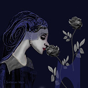 Inu Digital Art - 126 - A Young Woman With Roses ... by Irmgard Schoendorf Welch
