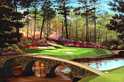 Golfers Framed Prints - 12th hole at Augusta  Framed Print by Tim Gilliland