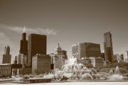Business Posters Prints Prints - Chicago Skyline and Buckingham Fountain Print by Frank Romeo