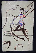 Bride Ceramics Posters - Dinka Dance - South Sudan Poster by Gloria Ssali
