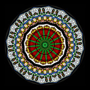 Glass Prints - Kaleidoscope Stained Glass Window Series Print by Amy Cicconi