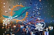 Christmas Greeting Photo Framed Prints - Miami Dolphins Framed Print by Joe Hamilton