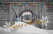 Christmas Doors Framed Prints - Milwaukee Brewers Framed Print by Joe Hamilton