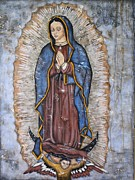 Mexican Mixed Media Acrylic Prints - Our Lady of Guadalupe Acrylic Print by Rain Ririn