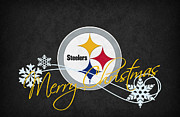 Christmas Greeting Photo Framed Prints - Pittsburgh Steelers Framed Print by Joe Hamilton