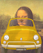 Classic Fiat Digital Art - 131030 BlueChip Fiat 500 gialla Leonardo tribute by BlueChip Luigi Gallone