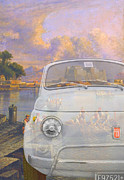 Classic Fiat Digital Art - 131101 BlueChip Fiat 500 bianca Neaples tribute by BlueChip Luigi Gallone