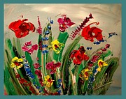 Love The Animal Painting Prints - Flowers Print by Mark Kazav