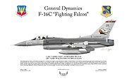 Squadron Prints Posters - 138FW F-16C Fighting Falcon Poster by Arthur Eggers