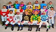 Kentucky Derby Mixed Media Prints - 139th Kentucky Derby Jockeys Print by Gunter  Hortz