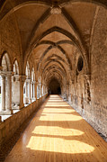 Mendicant Framed Prints - 13th century Gothic Cloister Framed Print by Jose Elias - Sofia Pereira