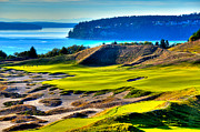 Golfers Framed Prints - #14 at Chambers Bay Golf Course - Location of the 2015 U.S. Open Tournament Framed Print by David Patterson