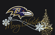Christmas Greeting Photo Framed Prints - Baltimore Ravens Framed Print by Joe Hamilton