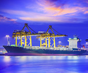 Terminal Prints - Container Cargo freight ship  Print by Anek Suwannaphoom