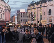 Cityscapes Painting Originals - Piccadilly Circus by Malcolm Warrilow