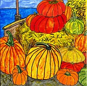 Pumpkins Paintings - 14 Pumpkins by Phil Strang