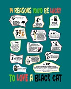 Animal Shelter Digital Art - 14 Reasons Youd Be Lucky to Love a Black Cat by Pet Serrano