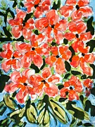 Not In Use Painting Metal Prints - Zenmoksha Flowers Metal Print by Baljit Chadha