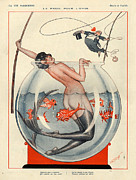 Mermaid Drawings - 1920s France La Vie Parisienne Magazine by The Advertising Archives