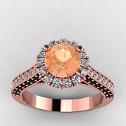 Platinum Jewelry - 14K Rose Gold Black and White Diamond Ring with Morganite Center Stone by Eternity Collection